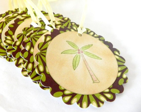 Coconut Tree tropical Tags - REDUCED