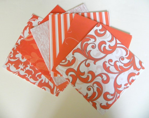 Orange floral patterned scrapbook paper 6x6 - REDUCED