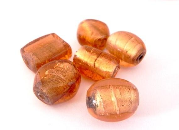 Golden large focal glass beads - REDUCED