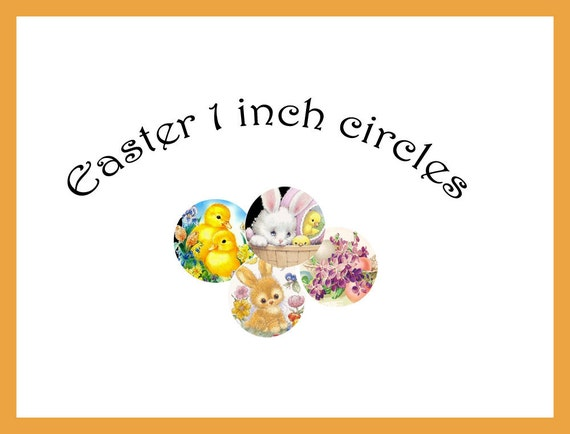 Easter 1 inch circle Digital collage sheet - SPECIAL