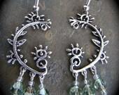 Swarovski Green Crystal Sterling Plated Chandelier Earrings