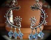 Swarovski Blue Crystal Sterling Plated Chandelier Earrings