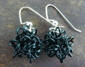 Wire Ball Dangle Earrings in Dark Green