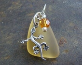 Recycled Yellow Glass - Sterling Silver Lizard Charm Pendant - with FREE black cord