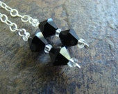 Sterling Silver Link Chain with Black Swarovski Crystals - Drop Earrings