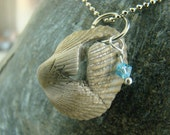 Natural Sea Shell Reversible Necklace with Swarovski crystal accent