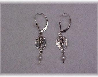 Cupid and pearl earrings
