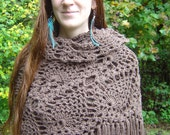 Brown Crochet Shawl with Fringes