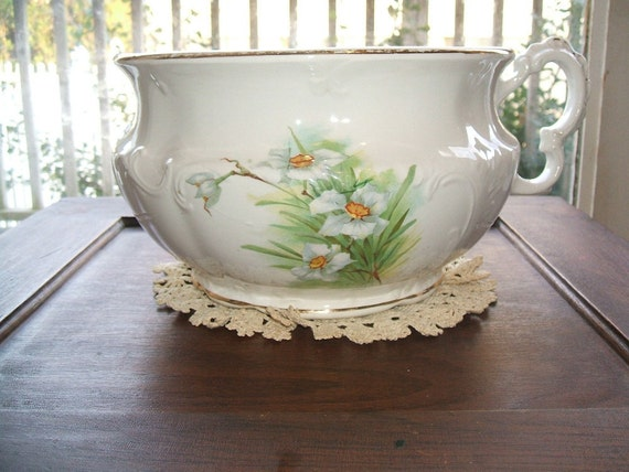 Vintage Antique 1880's Chamber Pot, Harvard Porcelain Footed Hand Painted Floral Beauty, Signed, Chamberpot