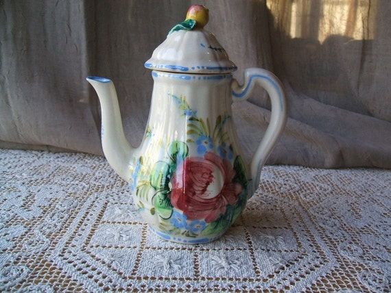 SALE ITEM At 50% OFF, Vintage Antique Italian Teapot, Handcrafted and Hand Painted Under Glaze, Country Cottage Fresh, Shabby Chic