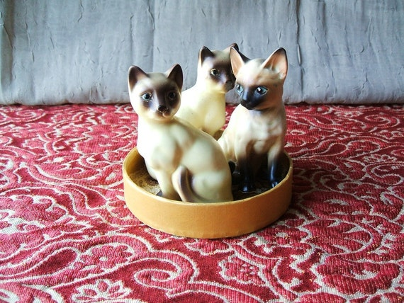 Trio of Vintage Siamese Cat Figurines, Salt & Pepper Shakers Ceramic, Japan