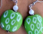 Lime Green with White Earrings - Kazuri Beads