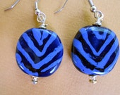 Shades of Blue Chevron Design Earrings - Kazuri Beads