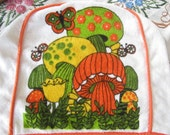 Vintage 60s 70s Bright Mushroom Terry Cloth Toaster/Appliance Cover