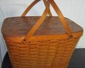 Vintage Large Picnic Basket -Woven  - Yogi the Bear Style