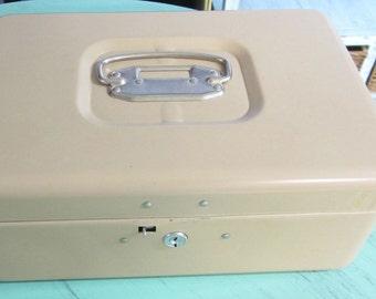 Vintage Steel Handled Home Lockbox/Storage Box/Fireproof Box