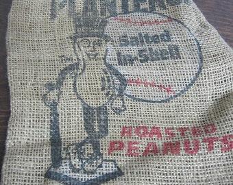 Vintage Planters Peanut Burlap Bag