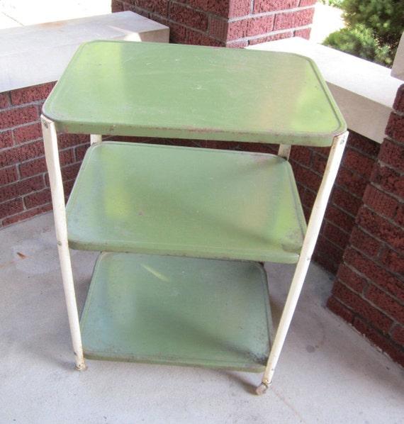 Kitchen Cart Metal Vintage Green With 3 Shelf