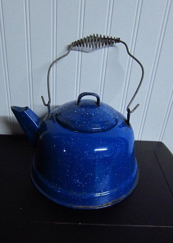 Vintage Enamel Ware Tea Kettle