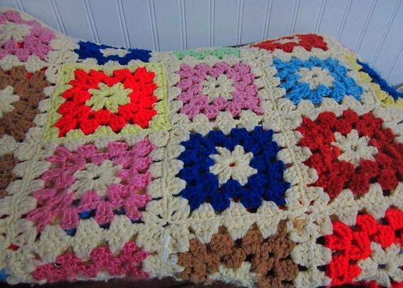 Vintage Granny Square Afghan/Lap Blanket/Sofa Blanket