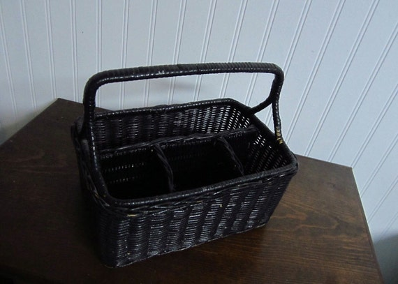 Vintage Black Handled Straw Basket with Compartments