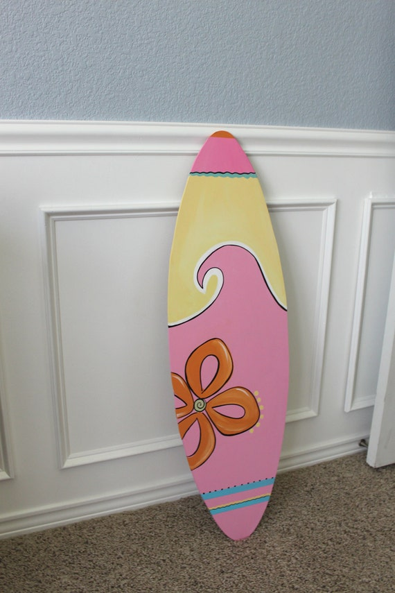 Items similar to wooden surfboard for girl room decor 37 for Surfboard decor for bedrooms