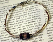 Brown Wood and Glass Bracelet For Him