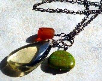 Clear Citrine Drop Necklace