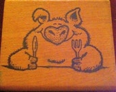 Hungry Piggy Vintage Rubber Stamp