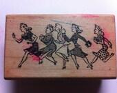 Dashing Ladies Vintage Rubber Stamp