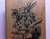 Vintage White Rabbit Rubber Stamp