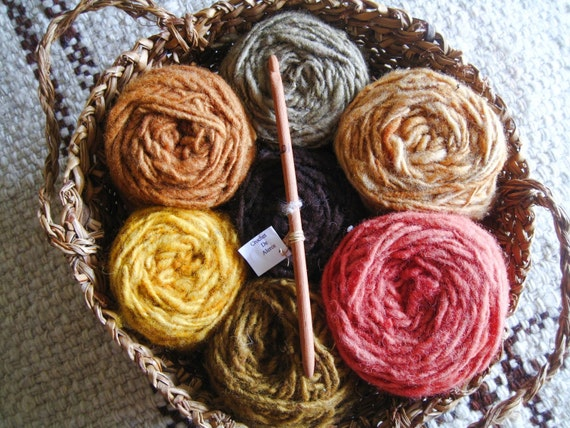 SALE Chilean Handwoven Basket Filled with Organic Hand Dyed Wool and Redwood Crochet Hook OOAK