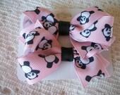 Matching Set of 2 Panda Bear Hair Bows on Clips