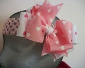 Toddler Hair Bow, Valentine Hearts Double Boutique Hair Bow, .