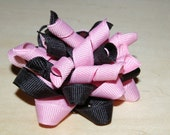 Black and Pink Korker Twist Pinwheel Hair bow