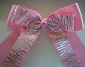 Silver Zebra Stripe Pink Extra Large Cheer Dance Team Double Stacked Hair Bow with Tails