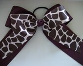 Extra Large Cheerleader  Dance Team Maroon and Giraffe Print Hair Bow with Tails