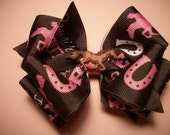 Toddler Western Hair Bow, Brown and Pink Cowgirl Hair Bow with Horse Button. Cowgirls Rule, Western Hairbow, Cowgirl Bow, Horse Hairbow