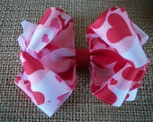Valentine Hair Bow,  Camouflage Red with Hearts Double Boutique Hair Bow .