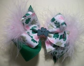 St Patrick's Day Toddler Hair Bow, Over the Top, Green, Shamrocks, and Marabou