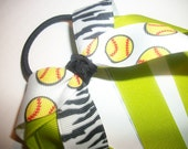 Girls Pony Tail Holder, Soft Ball, Zebra Stripe and Lime Pony Tail Streamer Hair Bow Ribbon