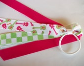 Guitar Hot Pink and Green  Cheer/Dance Team Pony Tail Hair Bow