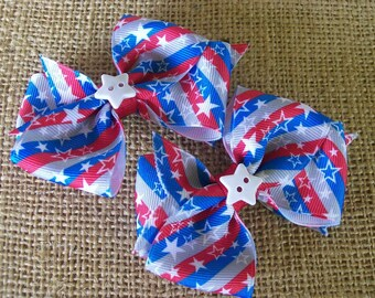 Piggy Tail Hair Bows, Baby/Toddler Hair Bow, Stars and Stripes Patriotic 4th of July Set of Two Hair Bows, Memorial Day Red White Blue Set