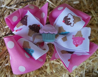 Cupcake Polka Dot Double Pink Hair Bow, Icecream Cone and Cupcakes, Toddler Boutique Hair Bow