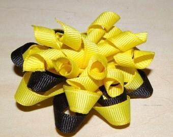 Hairbow Black and Yellow Korker Twist Pinwheel Hair bow