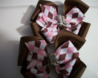 Toddler Hair bows, Set of two, Brown and Pink Western-Cowgirl Boutique Hair Bows, with Boots