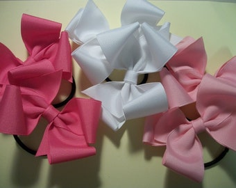 SALE Pony-0's, 3 sets of Piggy Tail Bows, Hot Pink, White, and Pink