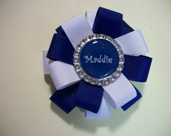 Toddler Hair Bow, Personalized Bottle Cap Hairbow, choice of ribbon colors