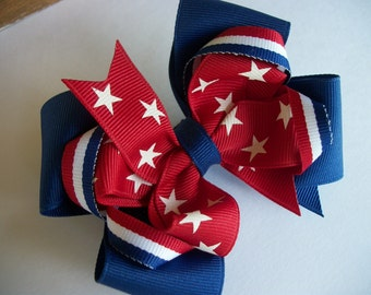 Toddler Hair Bow, Patriotic, Red White and Blue Hairbow, 4th of July Double Stacked Hair Bow with Loops,Memorial Day, Labor Day Bow. Party