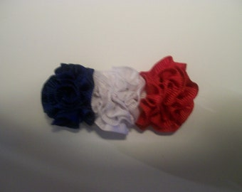 Red White Blue Rosette  4th of July Hairbow, Patriotic Bow, Memorial Day Hair Bow, Red White Blue Toddler Hair Bow, Independence Day Hairbow